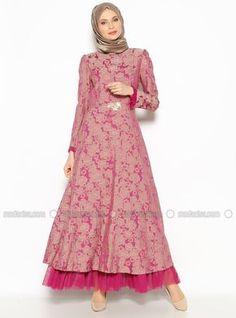 Patterned Evening Dress - Fuchsia - BURUN