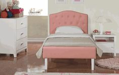 Kids Modern Upholstered Twin Size Bed With Headboard And Footboard In Pink Upholstery. Baby Furniture Sets, Cheap Furniture, Online Furniture, Kids Furniture, Headboard And Footboard, Headboards For Beds, Wood Crib, Pink Bedding, Baby Bedroom