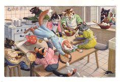Vintage Postcard Max Kunzli Dressed Cats Kitchen Fight (Image1)