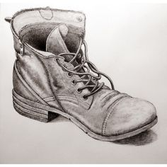 A2 pencil drawing of an old boot.