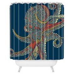 Splish splash have a blast while taking a bath! The Valentina Ramos Azzuli Shower Curtain by DENY Designs is made from 100 woven polyester with buttonhole openings to hang it. Featuring a pop of art and vibrance, the Valentina Ramos Azzuli  Shower Curtain by DENY Designs will have you turning that boring bathroom into one of the focal points of your home!