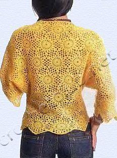 Желтый пуловер из мотивов - Вязание Крючком. Блог Настика. Схемы, узоры, уроки бесплатно