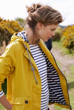 stripes, top, fashion, simple, style, waterproof, yellow jacket, spring