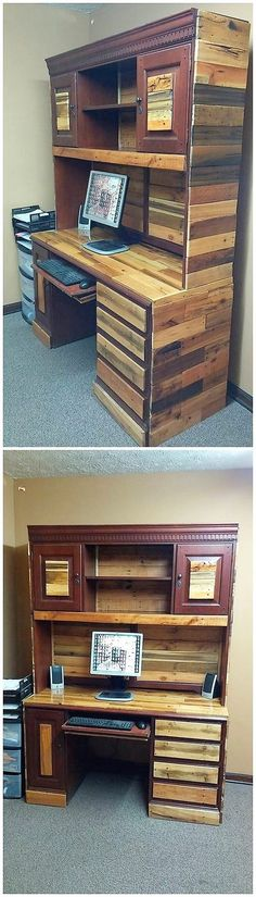 What is any furniture piece would make you provide with two services in one furniture set? Yes, you heard it right! Check out this image, that would make you offer out with the outstanding creation of the wood pallet cupboard with the blend of the computer table design work over it.