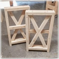 Unfinished DIY Farmhouse X-Style Table Legs | BUILD-YOUR-OWN TABLE - Medium