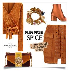 """Pumpkin spice 🍁"" by anduu19 on Polyvore featuring Prada, WithChic and Salvatore Ferragamo"