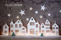 Je vous présente comment transformer quelques feuilles de papier en un merveilleux village lumineux de Noël . Faîtes entrer la magie