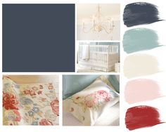 Hague Blue Nursery for Baby Girl.... Swap out red and pink for Coral and yellow.