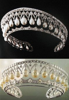 A beautiful diamond and pearl tiara. Royal Jewelry, Bling Jewelry, Wedding Jewelry, Jewelery, Royal Tiaras, Tiaras And Crowns, Wedding Veils, Bridal Headpieces, Wedding Hair