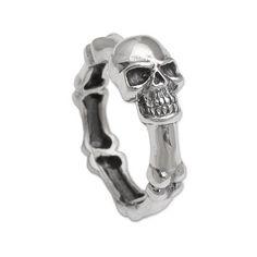 Sterling silver ring, 'Skull Champion' - Handcrafted 925 Sterling Silver Skull Ring from Bali (image 2a)