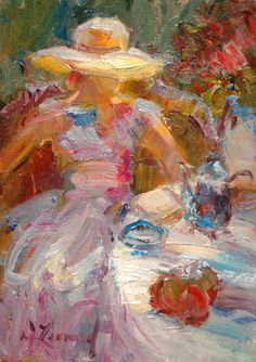 A Cup of Tea. Oil on Board. Diane Leonard. Impressionist. Leonard is one of America's most highly respected contemporary impressionists. She is one of only twenty-five members of the Society of American Impressionists. A self-taught artist, her work is exhibited worldwide including her first One-Woman Show in Nagano, Japan.