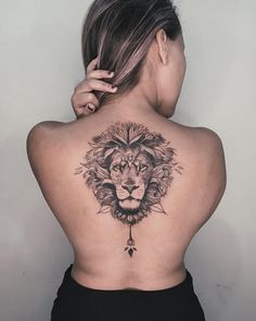 40 Stunning Animal Tattoo Designs That Inspire You To Get Inked - Millions Grace Lion Back Tattoo, Girl Back Tattoos, Back Tattoo Women, Big Tattoo, Nape Tattoo, Leo Tattoos, Cute Tattoos, Body Art Tattoos, Small Tattoos