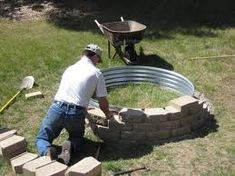 "Simple ""How To"" Fire pit. I am SO doing this! Backyard fire pit and similar idea for water feature in front yard Outdoor Fun, Outdoor Spaces, Outdoor Living, Outdoor Decor, Outdoor Privacy, Outdoor Ideas, Outdoor Projects, Home Projects, Outdoor Crafts"