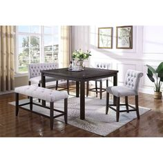 palmer dining 5 piece counter height table and upholstered chair and bench set by crown mark
