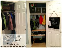Quick & Easy Coat Closet Makeover {Dolen Diaries} Turn your coat closet into a mini mudroom!