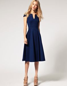 ASOS Fit and Flare Midi Dress with V Neck