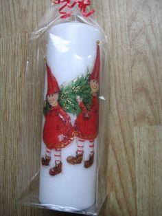 Kerzen & Beleuchtung - Kerze 2 Wichtel mit Tannenbaum - ein Designerstück von Busch-14 bei DaWanda