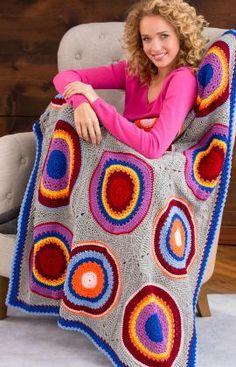 Häkelmuster für Decke mit Kreisen und Quadraten