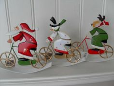 METAL SANTA SNOWMAN OR REINDEER ON A ROCKING BICYCLE CHIC N SHABBY CHRISTMAS