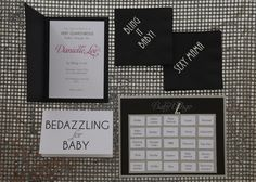 "Bling Paper Accessories. Spread sparkle at the baby shower with glam invitations, ""sexy mama"" napkins and blinged-out game pieces."