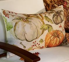 """Pottery Barn Fall Pumpkin Indoor//Outdoor Pillow~NEW With Tag~20"""""""
