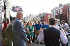JC praying for the city of Newport with the local community. #mancrush