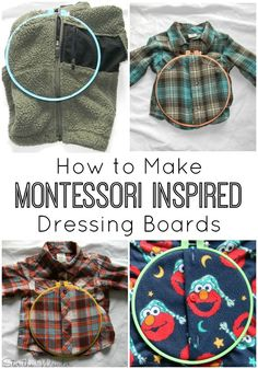 Montessori Inspired Dressing Boards are a wonderful way to teach toddlers how to work buttons, snaps & zippers so they can learn to dress themselves!