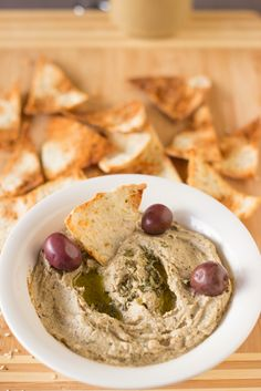 Baba Ghanoush is a creamy, classic Mediterranean eggplant dip that with a touch of sweetness makes a crowd pleaser! #vegan #vegetarian #eggplants #meatless
