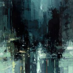 New Oil-Based Cityscapes Set at Dawn and Dusk by Jeremy Mann (shown: The Geary St. Storm) via Colossal