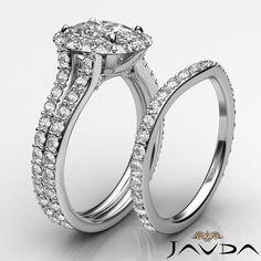 Fine Cushion Diamond Engagement Bridal Set Ring GIA G SI1 14k White Gold 2.8 ct