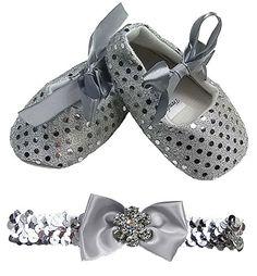 NEU! Süße Baby Ballerina in silber mit Pailletten inkl. passendem Pailletten Haarband Gr. 16,17,18,19 - http://on-line-kaufen.de/trendydress/neu-suesse-baby-ballerina-in-silber-mit-inkl-gr-16