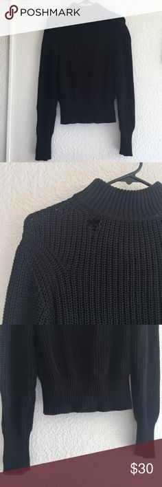 Grunge mock neck sweater long sleeve mock neck waffle knit sweater. has a hole in the neck which gives it a grungy feel. no other flaws, holes or snags. only worn a 2-3 times, EUC.   marked a size L, i'm an xs and it still looked great. the cuffs and the waist are fitted while the sleeves and body are more loose. not see through so you don't need an undershirt. American Apparel Sweaters Cowl & Turtlenecks