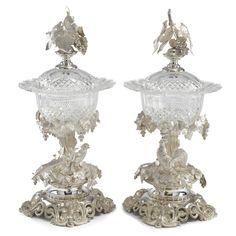 Two Dutch silver-mounted cut-glass compotiers, J.M. Van Kempen & Zonen, Voorschoten,1873.