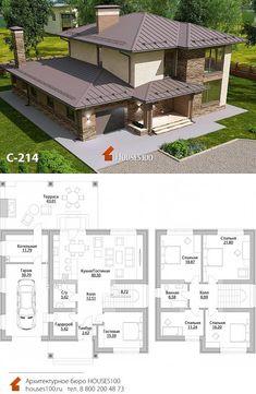 Проект дома C-214 (6/6)    Проект красивого двухэтажного дома с гаражом в стиле Райта от Houses100, площадью 215м2 Modern House Floor Plans, Modern House Design, House Layout Plans, House Layouts, Beautiful House Plans, Sims Building, Backyard House, Two Storey House, Fantasy House