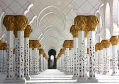 Sheikh Zayed Mosque - The 96 columns in the main prayer hall are clad with marble and inlaid with mother of pearl, one of the few places where you will see this craftsmanship.