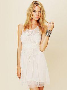 FP Crochet Applique Dress $128