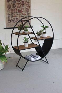 Kalalou Metal And Wood Round Shelf