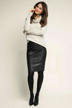 black pencil skirt High waisted black leather skirt and white sweater outfit. Source by wearmywear dress for work Mode Outfits, Fashion Outfits, Womens Fashion, Fashion Skirts, Summer Outfits, Casual Skirt Outfits, Casual Skirts, Classy Outfits, Fashion Pants