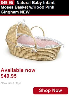 Moses Baskets: Natural Baby Infant Moses Basket W/Hood Pink Gingham New BUY IT NOW ONLY: $49.95