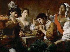 Valentin de Boulogne (1591-1632)  Meeting in a Tavern, ca.1625  Olio su tela, 96 x 133 cm Musée du Louvre, Paris