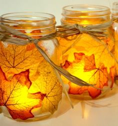 Autumn leaf mason jar candle holder // Lámpások falevelekkel - őszi dekoráció befőttes üvegből // Mindy - craft tutorial collection
