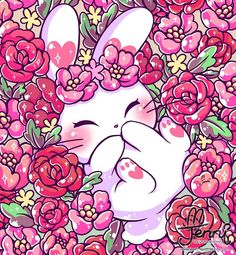 Floral bunny . . . #floral #flowers #bunny #bunnylover #flowerfield #jennilustrations