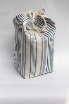 Nautical Stripes Door Stop Blue White Coastal by RaggedHome