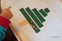 Activité manuelle, enfant à partir de 2 ans. Sapin de Noël, collage activité manuelle sapin en papier