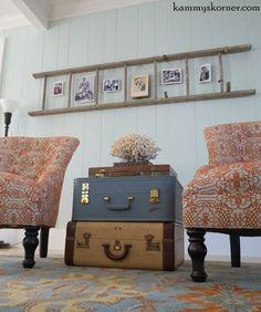 Kammy's Korner: Vintage Suitcase End Table with ladder photo display