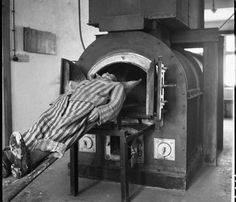 Former prisoner demonstrates the way bodies were placed in the crematory oven at Natzweiler-Struthof, in February Antique Photos, Old Photos, Black History Facts, Dark Photography, World History, World War Two, Historical Photos, Wwii, Fotografia