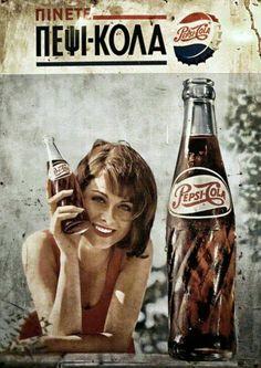 Πέψι-κόλα Vintage Advertising Posters, Old Advertisements, Print Advertising, Vintage Ads, Vintage Images, Vintage Posters, Coca Cola, Pepsi Ad, Pinup