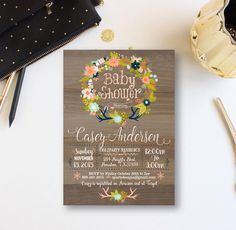 Winter Woodland Baby Shower Invitation, Vintage Baby Shower Invite, Rustic Winter Baby Floral Wreath  Invites, Retro wood,  Custom WR by ZPartyDesigns on Etsy https://www.etsy.com/listing/256164632/winter-woodland-baby-shower-invitation