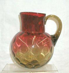 Victorian amberina glass thumbprint pattern water pitcher