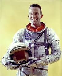 Gordon Cooper of Shawnee, OK, 1927-2004.  American aeronautical engineer, test pilot, & one of the 7 original astronauts in Project Mercury, the first manned space program of the US.  Last American to be launched alone to conduct an entirely solo orbital mission.  In 1965 Cooper flew as command pilot of Gemini 5.